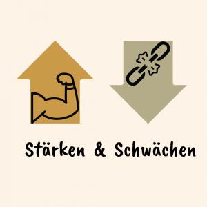 Ein nach oben zeigender Pfeil symbolisiert die Stärke und ein nach unten zeigender Pfeil als Schwäche
