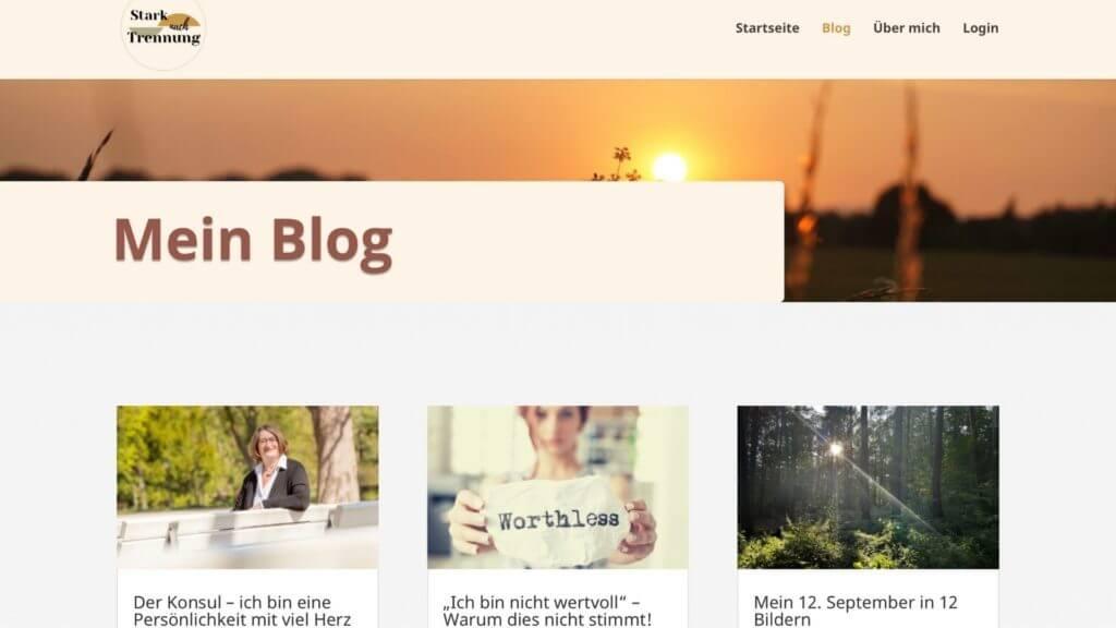 Bildschirmfoto des Blogs von Stark nach Trennung vom 02.10.2021